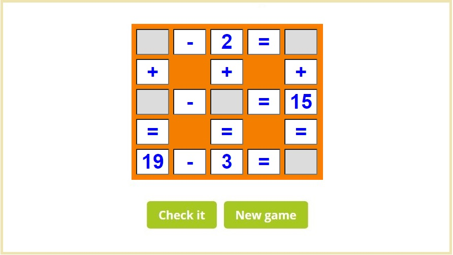 Play Math crossword puzzles online