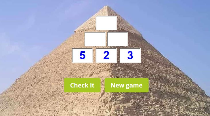 Multiplication pyramid game
