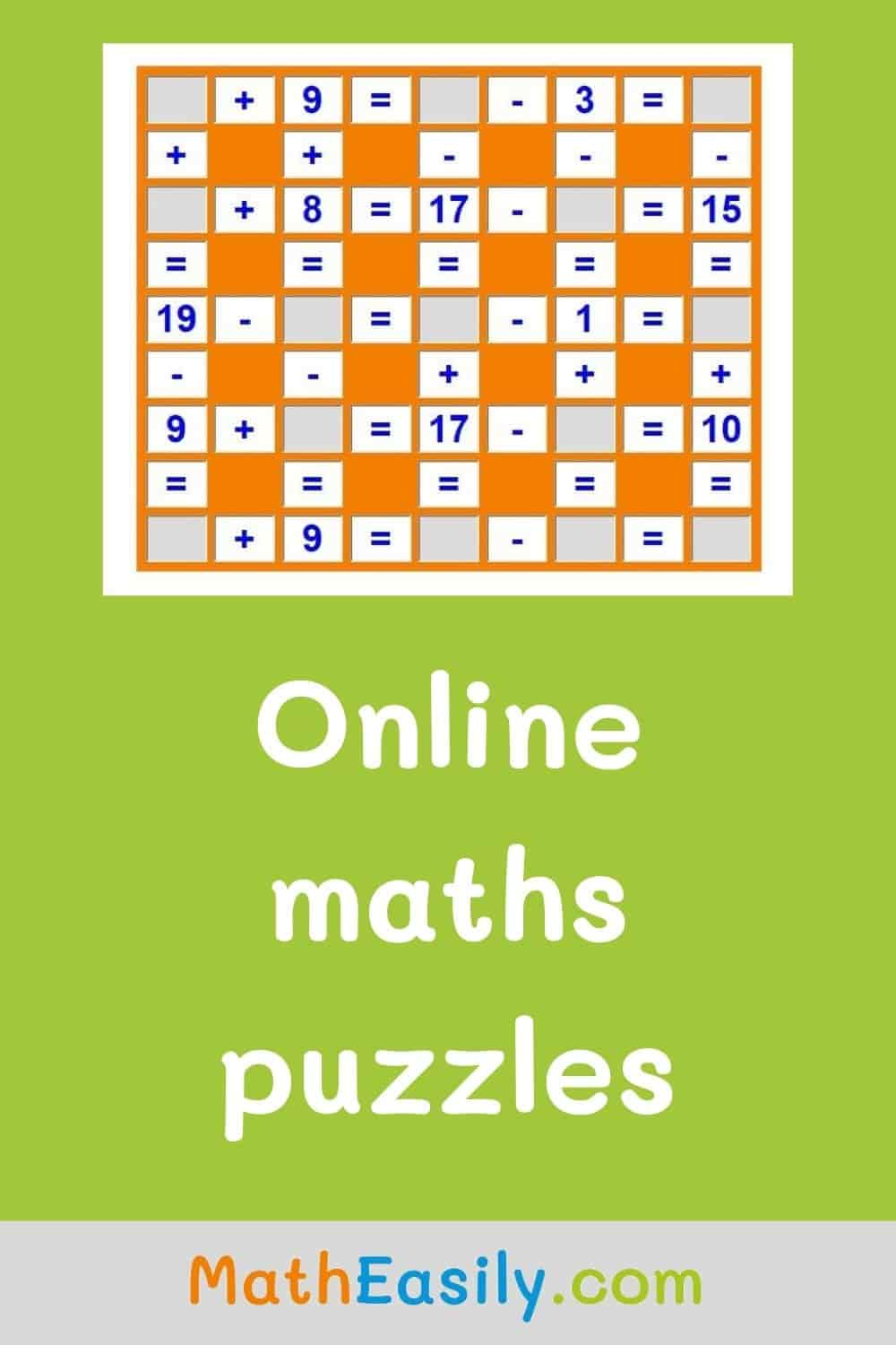 Online maths puzzles for kids