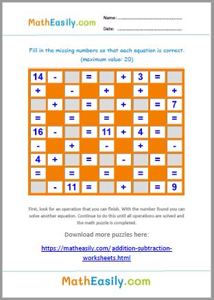 Free printable maths puzzles with answers in PDF