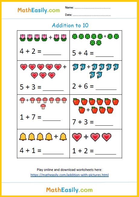 Download free single digit addition with pictures worksheets in PDF.
