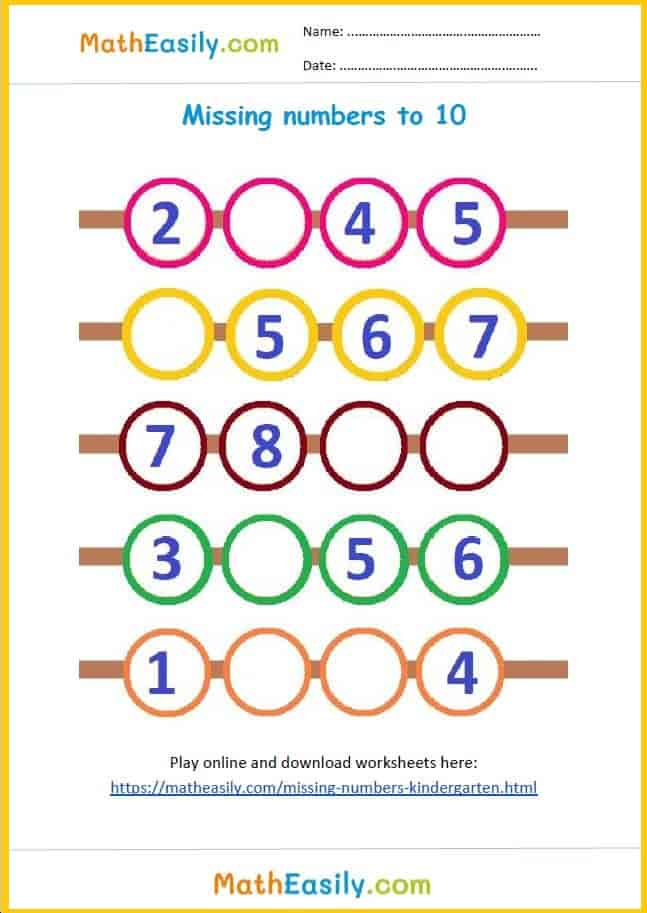Free missing numbers worksheets for Kindergarten in PDF