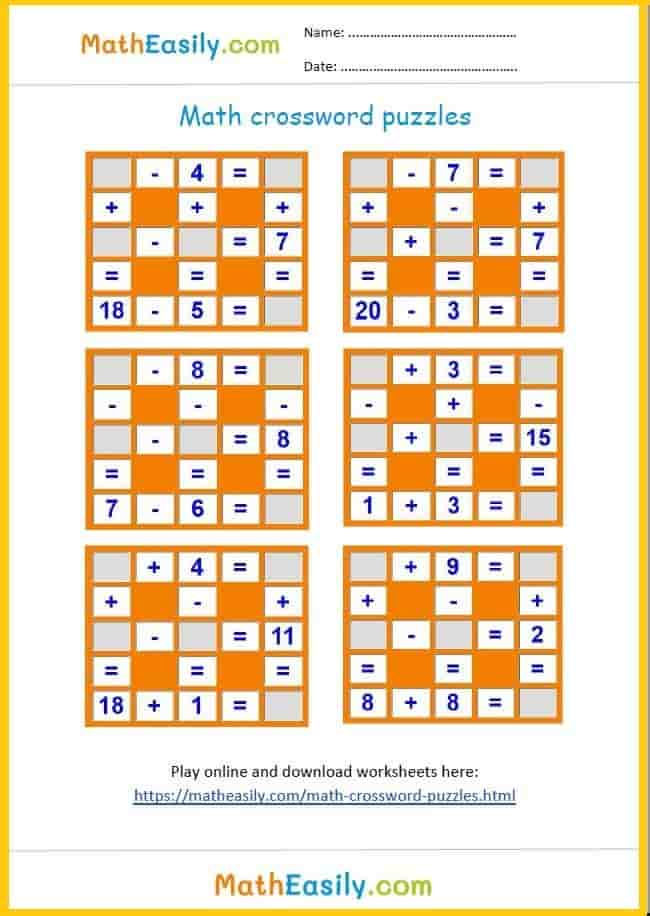 Printable math puzzles in PDF