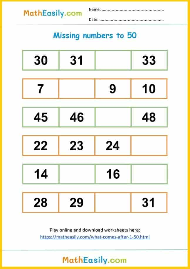 Free what comes between worksheet 1 to 50.