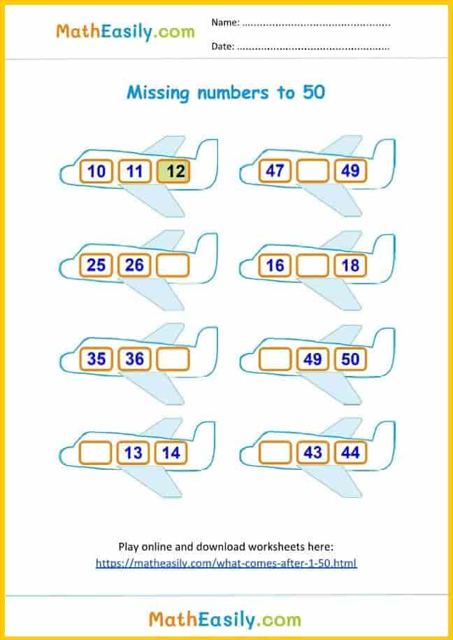 Printable What comes after worksheet 1 to 50 in PDF. After numbers 1 to 50 worksheet in PDF..